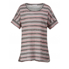 Vokuhila-Shirt gestreift Janet & Joyce weiß-pink gestr.