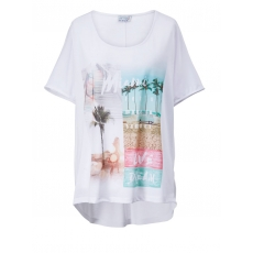 Vokuhila-Shirt in Oversize-Form Angel of Style weiß bedruckt