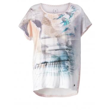 Vokuhila-Shirt mit Frontprint OpenEnd natur bedruckt