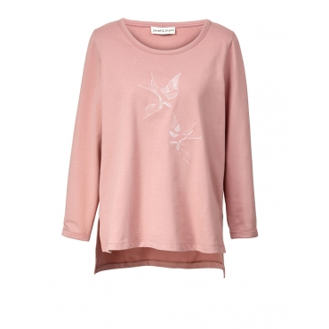Vokuhila-Sweatshirt mit Stickerei Angel of Style rosenholz