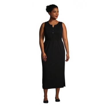 Ärmelloses Jerseykleid in Midi-Länge in großen Größen, Damen, Größe: 48-50 Plusgrößen, Schwarz, by Lands' End, Schwarz
