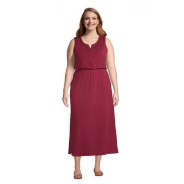 Ärmelloses Jerseykleid in Midi-Länge in großen Größen, Damen, Größe: 48-50 Plusgrößen, Rot, by Lands' End, Satt Burgund