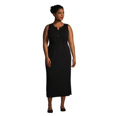 Ärmelloses Jerseykleid in Midi-Länge in großen Größen, Damen, Größe: 52-54 Plusgrößen, Schwarz, by Lands' End, Schwarz