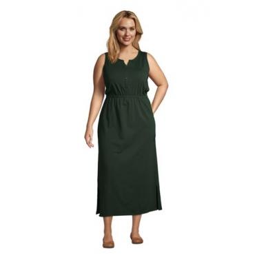 Ärmelloses Jerseykleid in Midi-Länge in großen Größen, Damen, Größe: 52-54 Plusgrößen, Grün, by Lands' End, Tief Wald