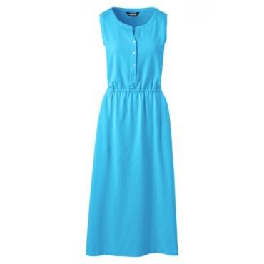 Ärmelloses Jerseykleid in Midi-Länge, Damen, Größe: L Normal, Blau, by Lands' End, Seenebel Blau