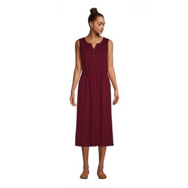 Ärmelloses Jerseykleid in Midi-Länge, Damen, Größe: L Normal, Rot, by Lands' End, Satt Burgund