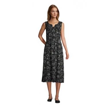 Ärmelloses Jerseykleid in Midi-Länge, Damen, Größe: 48-50 Normal, Schwarz, by Lands' End, Schwarz Floral