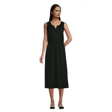 Ärmelloses Jerseykleid in Midi-Länge, Damen, Größe: 48-50 Normal, Grün, by Lands' End, Tief Wald