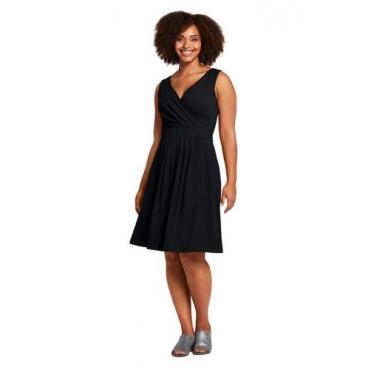 Ärmelloses Jerseykleid in Wickel-Optik  in großen Größen