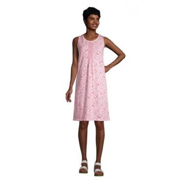 Ärmelloses Kleid mit Biesenfalten in Petite-Größe, Damen, Größe: L Petite, Pink, Jersey, by Lands' End, Horizont Pink Batik Geo