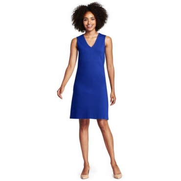 Ärmelloses Ponté-Kleid mit V-Ausschnitt