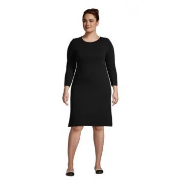 Baumwoll-Shirtkleid mit 3/4-Ärmeln  in großen Größen