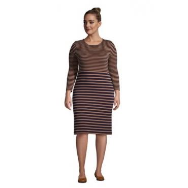 Baumwoll-Shirtkleid mit 3/4-Ärmeln in großen Größen, Damen, Größe: 56-58 Plusgrößen, Braun, by Lands' End, Warm Gelbbraun Gestreift