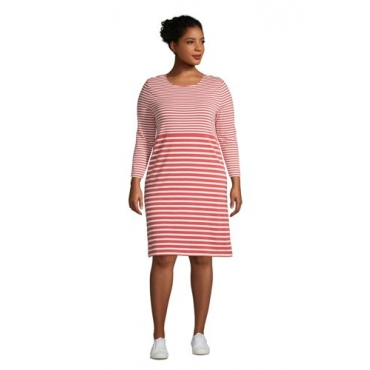 Baumwoll-Shirtkleid mit 3/4-Ärmeln in großen Größen, Damen, Größe: 56-58 Plusgrößen, Rot, by Lands' End, Nautisch Rot Gestreift