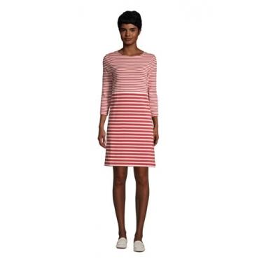 Baumwoll-Shirtkleid mit 3/4-Ärmeln, Damen, Größe: L Normal, Rot, by Lands' End, Nautisch Rot Gestreift