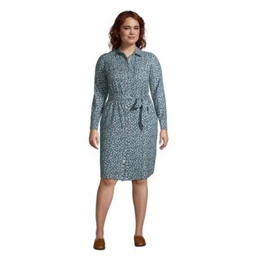 Blusenkleid aus Baumwoll-Flanell in großen Größen, Damen, Größe: 48-50 Plusgrößen, Blau, by Lands' End, Ägäis Floral