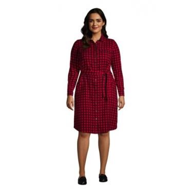 Blusenkleid aus Baumwoll-Flanell in großen Größen, Damen, Größe: 52-54 Plusgrößen, Schwarz, by Lands' End, Schwarz/Satt Rot Buffalo Karo