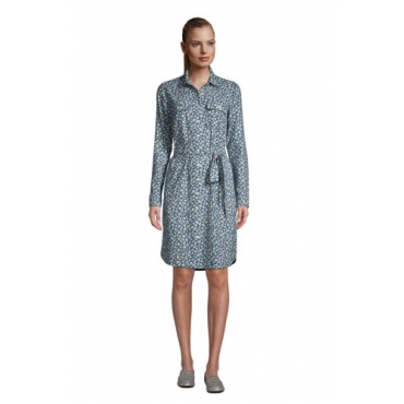 Blusenkleid aus Baumwoll-Flanell in Petite-Größe, Damen, Größe: L Petite, Blau, by Lands' End, Ägäis Floral