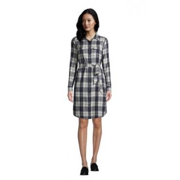 Blusenkleid aus Baumwoll-Flanell, Damen, Größe: L Normal, Grau, by Lands' End, Dunkel Eisen Grau Karo