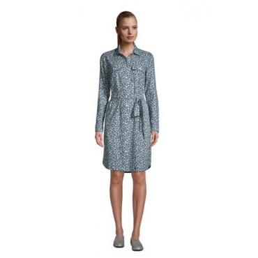 Blusenkleid aus Baumwoll-Flanell, Damen, Größe: L Normal, Blau, by Lands' End, Ägäis Floral