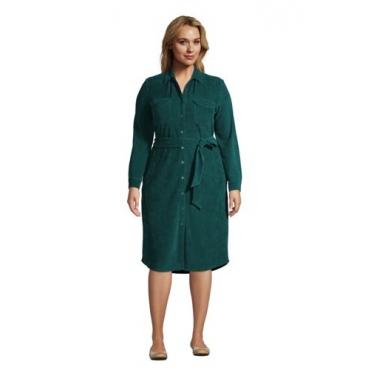 Blusenkleid aus Cord in großen Größen, Damen, Größe: 48-50 Plusgrößen, Grün, by Lands' End, Jade Smaragd