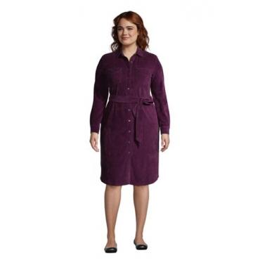 Blusenkleid aus Cord in großen Größen, Damen, Größe: 48-50 Plusgrößen, Lila, by Lands' End, Medaillon Waldbeere