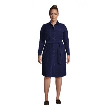 Blusenkleid aus Cord in großen Größen, Damen, Größe: 52-54 Plusgrößen, Blau, by Lands' End, Tiefsee
