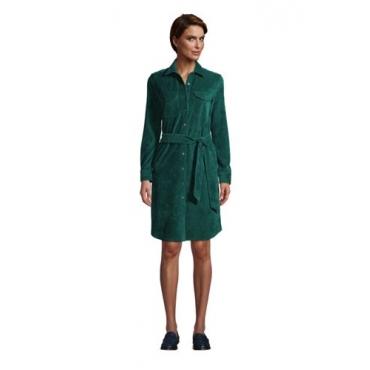 Blusenkleid aus Cord in Petite-Größe, Damen, Größe: L Petite, Grün, by Lands' End, Jade Smaragd