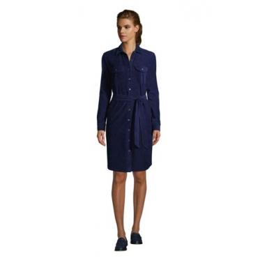 Blusenkleid aus Cord, Damen, Größe: L Normal, Blau, by Lands' End, Tiefsee