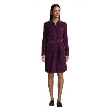 Blusenkleid aus Cord, Damen, Größe: 48-50 Normal, Lila, by Lands' End, Medaillon Waldbeere