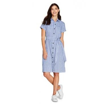Blusenkleid im Leinenmix, Damen, Größe: L Normal, Blau, by Lands' End, Blau Linea