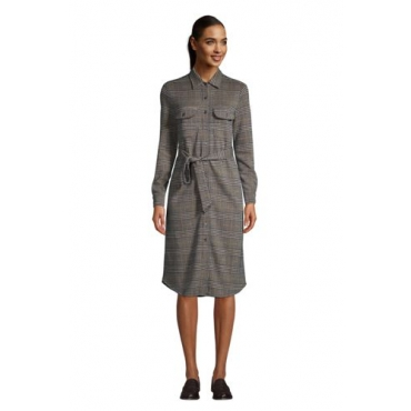 Blusenkleid mit Jacquard-Muster SPORT KNIT, Damen, Größe: L Normal, Braun, Baumwoll-Mischung, by Lands' End, Hell Pecan Glen Plaid