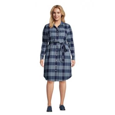 Blusenkleid mit Webstruktur in großen Größen, Damen, Größe: 56-58 Plusgrößen, Blau, Baumwolle, by Lands' End, Indigo Dobby