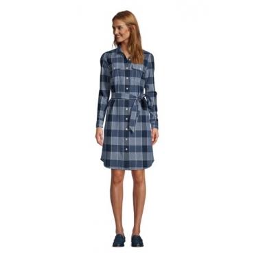 Blusenkleid mit Webstruktur, Damen, Größe: L Normal, Blau, Baumwolle, by Lands' End, Indigo Dobby