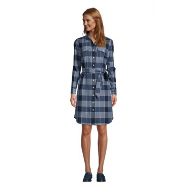 Blusenkleid mit Webstruktur, Damen, Größe: 48-50 Normal, Blau, Baumwolle, by Lands' End, Indigo Dobby