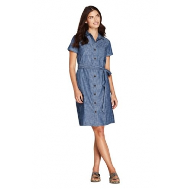 Chambray-Blusenkleid, Damen, Größe: L Normal, Blau, Baumwolle, by Lands' End, Soft Chambray