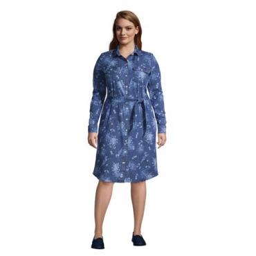 Denim-Blusenkleid in großen Größen, Damen, Größe: 48-50 Plusgrößen, Blau, by Lands' End, Medium Indigo Sonnendruck Denim