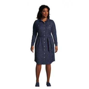 Denim-Blusenkleid in großen Größen, Damen, Größe: 48-50 Plusgrößen, Blau, by Lands' End, Dunkel Indigo Denim