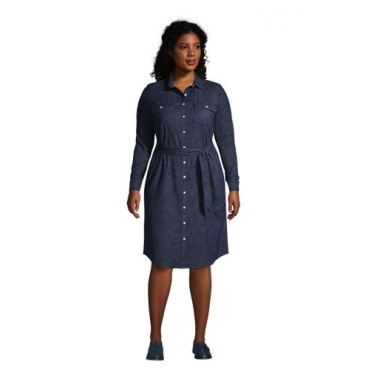 Denim-Blusenkleid in großen Größen, Damen, Größe: 52-54 Plusgrößen, Blau, by Lands' End, Dunkel Indigo Denim