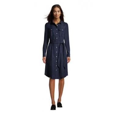 Denim-Blusenkleid in Petite-Größe, Damen, Größe: 40-42 Petite, Blau, by Lands' End, Dunkel Indigo Denim