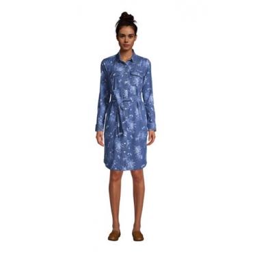 Denim-Blusenkleid, Damen, Größe: 48-50 Normal, Blau, by Lands' End, Medium Indigo Sonnendruck Denim