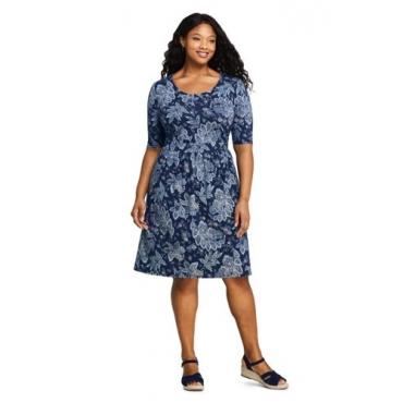 Geblümtes Jerseykleid mit halblangen Ärmeln  in großen Größen