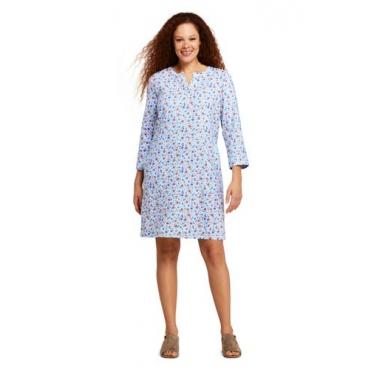 Geblümtes Tunika-Kleid im Leinenmix  in großen Größen