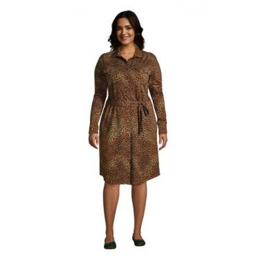 Gemustertes Blusenkleid im Baumwoll-Modalmix  in großen Größen