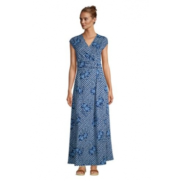 Gemustertes Jersey-Maxikleid in Wickeloptik, Damen, Größe: 48-50 Normal, Blau, by Lands' End, Tiefsee Shibori Floral