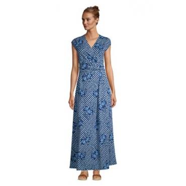 Gemustertes Jersey-Maxikleid in Wickeloptik in Petite-Größe, Damen, Größe: L Petite, Blau, by Lands' End, Tiefsee Shibori Floral