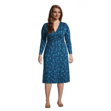 Gemustertes Jersey-Wickelkleid mit 3/4-Ärmeln in großen Größen, Damen, Größe: 48-50 Plusgrößen, Blau, by Lands' End, Ägäis Floral