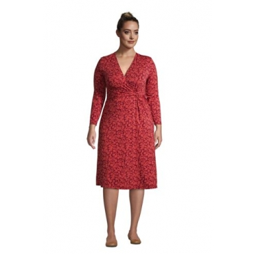 Gemustertes Jersey-Wickelkleid mit 3/4-Ärmeln in großen Größen, Damen, Größe: 52-54 Plusgrößen, Rot, by Lands' End, Nautisch Rot Floral