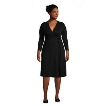 Gemustertes Jersey-Wickelkleid mit 3/4-Ärmeln in großen Größen, Damen, Größe: 52-54 Plusgrößen, Schwarz, by Lands' End, Schwarz