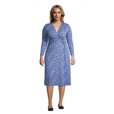 Gemustertes Jersey-Wickelkleid mit 3/4-Ärmeln in großen Größen, Damen, Größe: 52-54 Plusgrößen, Blau, by Lands' End, Kobaltblau Traum